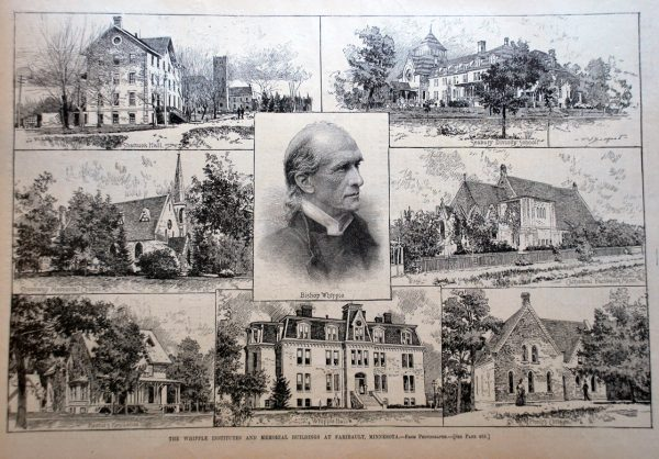 This collage of schools in Faribault with which Bishop Whipple was associated was published in Harper's Weekly in 1888.